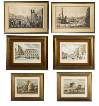 Lot of Six Continental Colored Prints, 19th/20thC