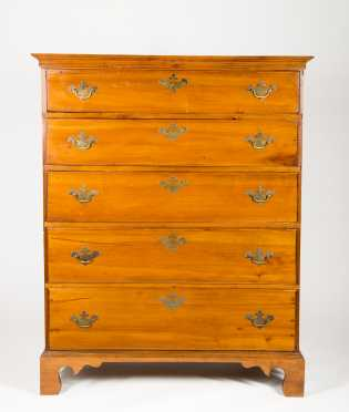New Hampshire Chippendale Five Drawer Tall Chest