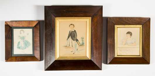 Three Primitive Watercolor Paintings of Children