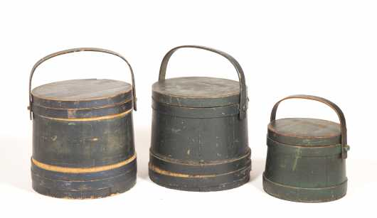 Three Lapped Painted Firkins