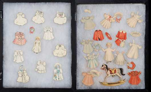 C1895-1910 Two Shadow Boxes of Handmade Paper Dolls