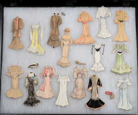 C1895-1910 Handmade Paper Doll in Shadow Box