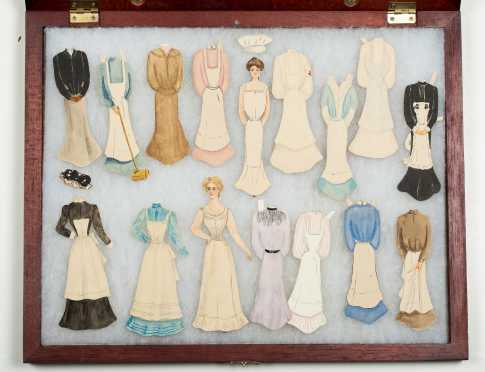 C1895-1910 Homemade Paper Dolls in Shadow Box