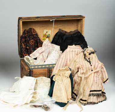 Doll's Paper Covered Trunk with Cardboard Tray and Fifteen Items of Clothing