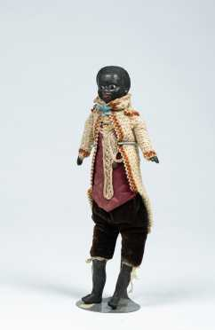 "11 1/2"" Glass Eye German Black Papier-Mache Shoulder Head Doll on a Cloth Body"
