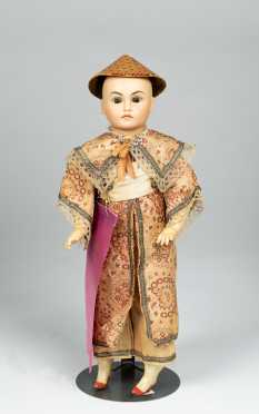 "14"" Tinted German Bisque Socket Head Doll with Asian Features"