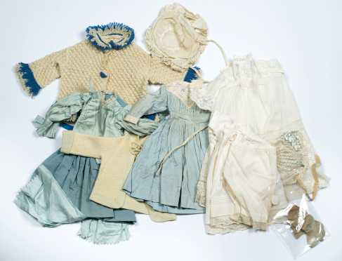 Thirteen Pieces of Doll's Clothing in Blues and Whites