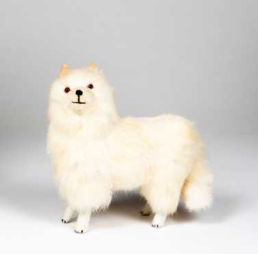 White Fur Dog Candy Container