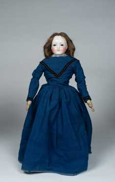 "19"" Cobalt Blue Inset Glass Eye Pink Tint China Shoulder Head Doll"