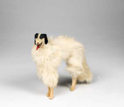 White Real Fur Open Mouth Glass Eye Borzoi Standing Dog