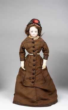 "16"" French Fashion Bisque Socket Head Doll"
