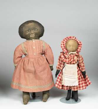 Pair of Black Cloth Rag Dolls