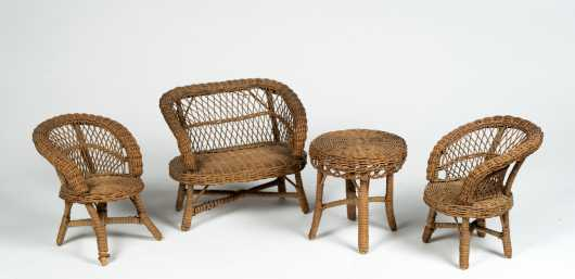 Doll's Four Piece Wicker Set