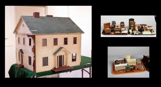 Seven Room Large Colonial White Doll House with Four Trays of Furniture
