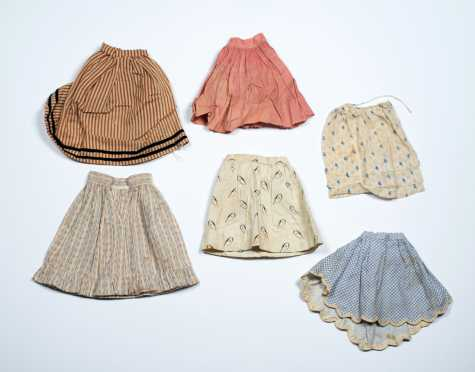 Six Small Size Doll Skirts
