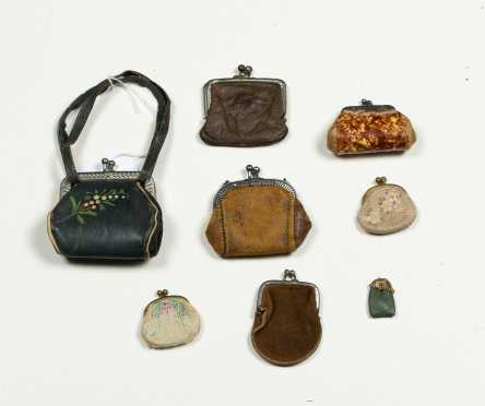Eight Miscellaneous Size Doll Purses