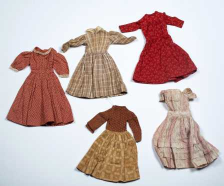 Five Small Early Doll Dresses