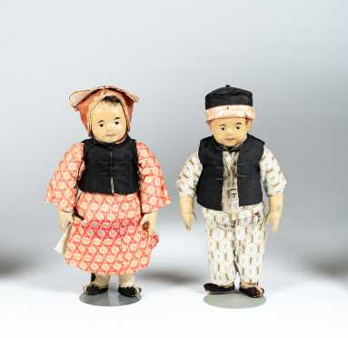 "Pair of 10 1/2"" Tall Cloth Chinese Dolls"