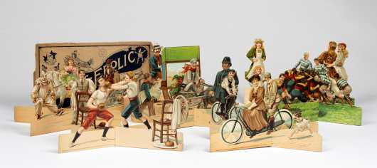 Fun and Frolic Paper Toy Set of Six Embossed Cardboard Scenes