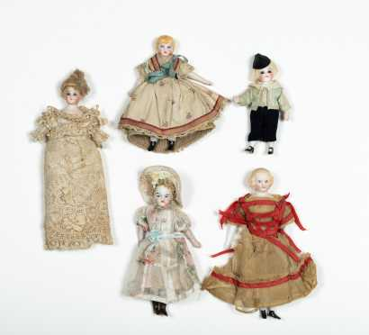 Five Miscellaneous Doll House Dolls