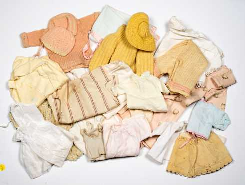 Large Lot of Knit and Flannel Doll's Clothing and Baby Clothes