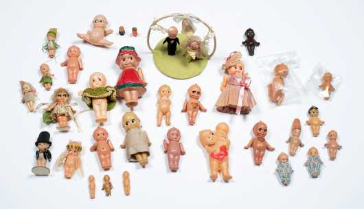 Box Lot of Celluloid Kewpies and Kewpie Wedding Topper