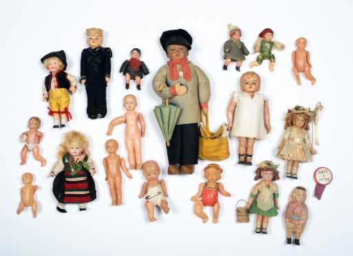 Box Lot of Celluloid Dolls