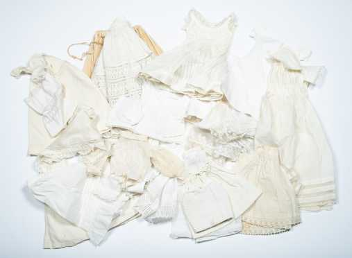 Twenty Pieces of Doll's White Undergarments and Clothing