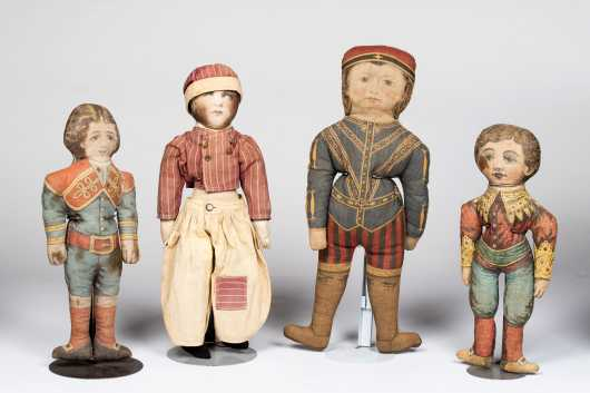 Lot of Four Cloth Dolls