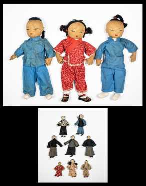 Three Large Cloth Asian Dolls and Small Box of Eight Mini Asians