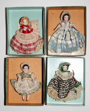 Lot of Four Ruth Gibbs Godey's Little Lady Dolls