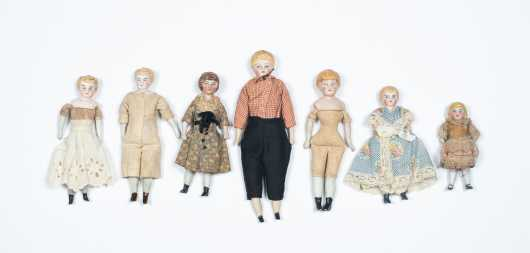 Seven Bisque Head Doll House Dolls with Bisque Arms and Legs and Cloth Bodies