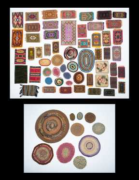 Twenty-Seven Miscellaneous Hooked and Braided Rugs for Doll Houses