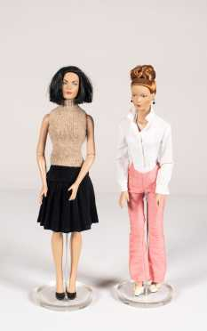 Two Tyler Wentworth Dolls and Plaid Box with Clothing