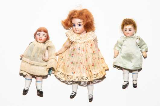 Lot of Three All Bisque Dolls