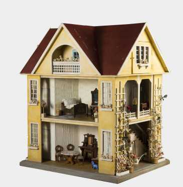Two Story German Red Roof Doll House with Attic