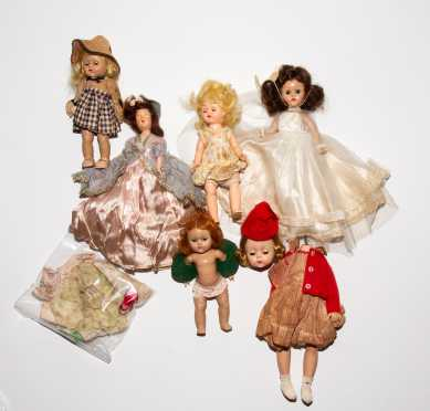 Lot of Six Vintage Dolls