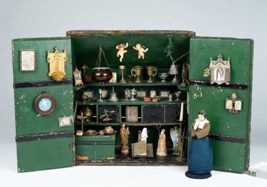 Early Religious Diorama With Two Door Opening in Front