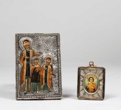 Silver Russian Icon and Saint Painted on Mother of Pearl in Silver Frame