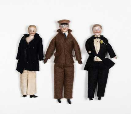 Three bisque and Cloth Doll House Gentleman