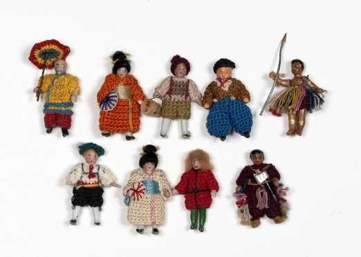 "Nine German 1 1/2"" All Bisque Dolls"