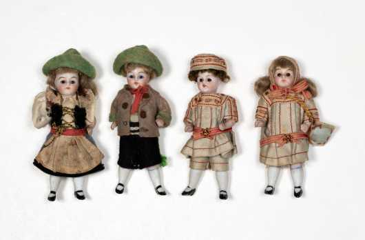Lot of Four German All Bisque Neck Dolls