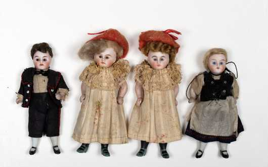 Lot of Four German Glass Eye Stiff Neck All Bisque Dolls