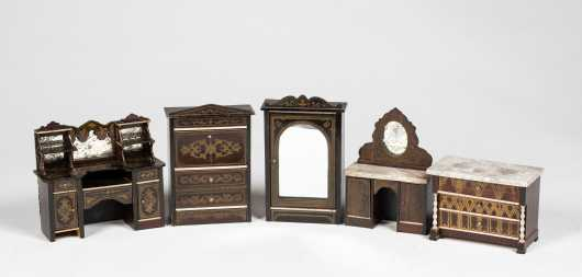 Five Pieces Biedermeier Doll House Furniture