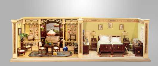 1890s German Two Room Diorama With Original Wallpaper and Flooring