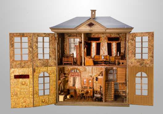 Large Victorian Four Room Doll House with Two Floors