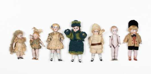 Seven Miscellaneous Small Dolls