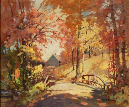 James King Bonnar, oil on board landscape