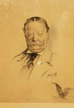 Jean Paleologue  print  of ink on paper portrait of President William Howard Taft