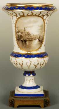Porcelain Urn, mounted on bronze base
